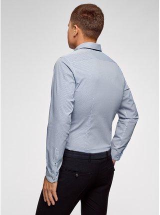 Košile bavlněná s kontrastním lemováním OODJI