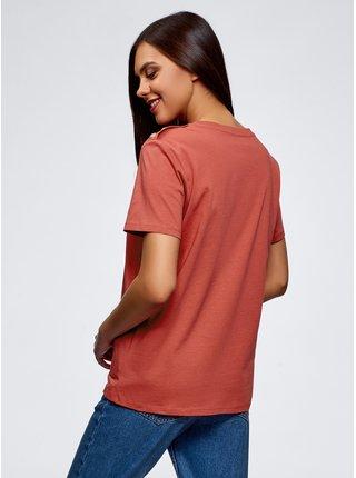 Tričko rovné s ozdobnými knoflíčky  OODJI