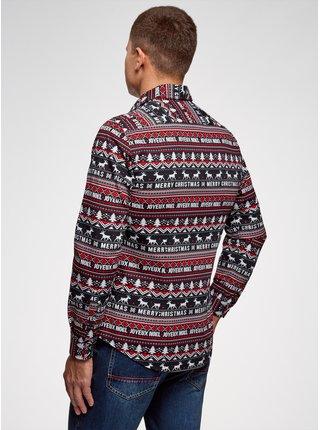 Košile vypasovaná s vánočním potiskem OODJI
