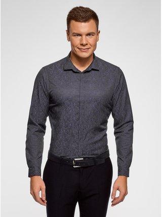 Košile vypasovaná s etno potiskem OODJI