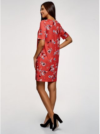 Šaty rovné  z materiálu s výraznou texturou OODJI
