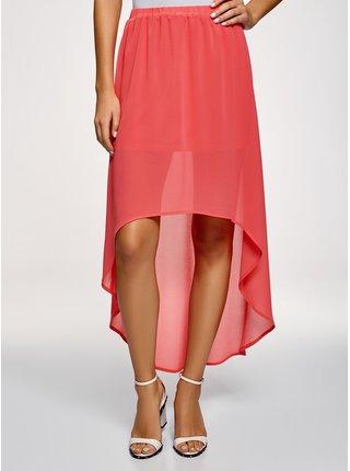 Sukňa šifónová s asymetrickou dĺžkou sukne OODJI
