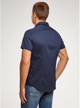 Košile bavlněná s krátkým rukávem OODJI