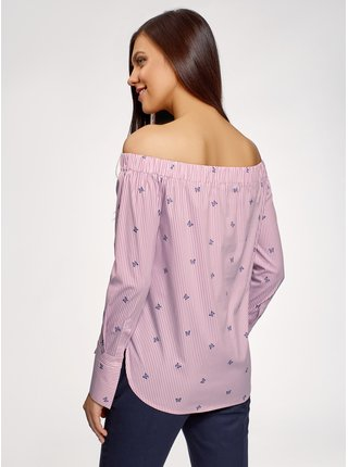 Košile s dlouhým rukávem s odhalenými rameny OODJI