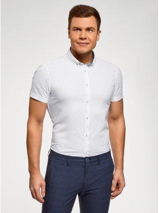 Košeľa bavlnená s krátkym rukávom OODJI