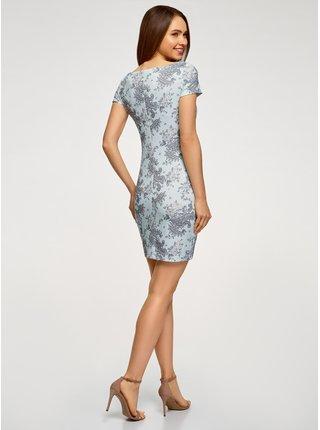 Šaty z materiálu s výraznou texturou s lodičkovým výstřihem OODJI