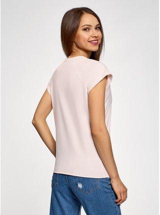Tričko bavlněné ozdobené umělými perličkami OODJI