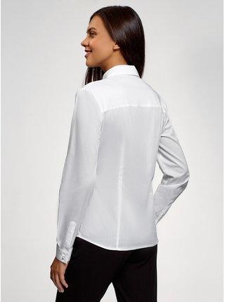 Košile vypasovaná s ozdobnými korálky na límečku OODJI