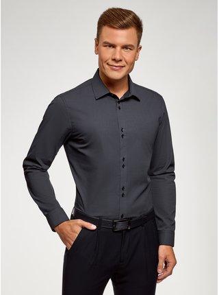 Košeľa bavlnená s drobným vzorom OODJI