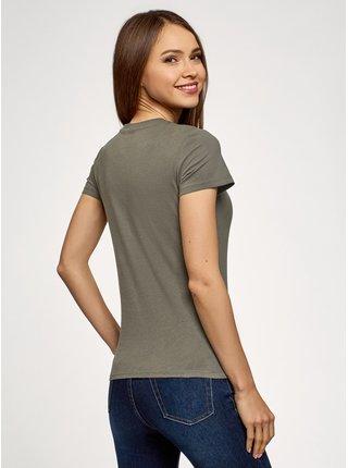 Tričko bavlněné s kulatým výstřihem OODJI