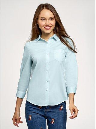 Košile s kapsičkou na prsou a 3/4 rukávem OODJI