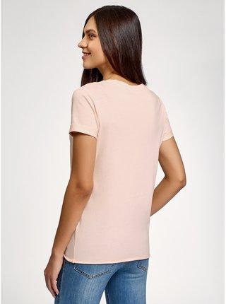 Tričko bavlněné s potiskem a s nezačištěným lemem OODJI