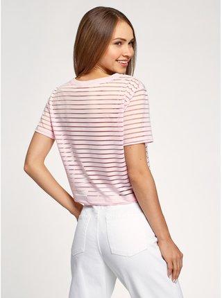 Tričko zkrácené s průhlednými proužky OODJI