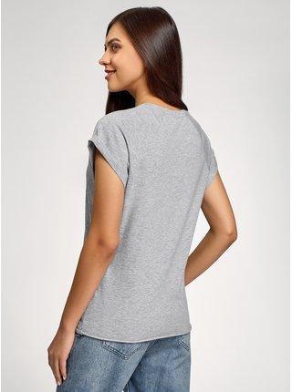 Tričko bavlněné s potiskem s nezačištěným lemem OODJI