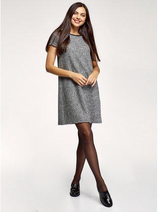 Šaty střihu A z materiálu s výraznou texturou OODJI