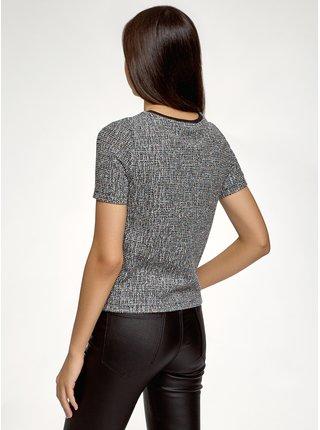 Tričko rovné z materiálu z výraznou texturou OODJI