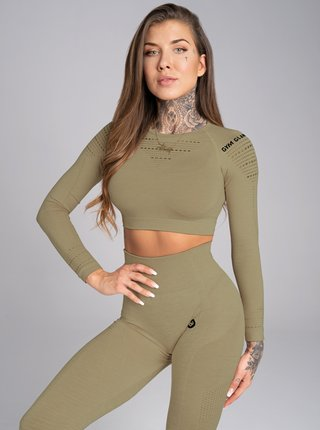Crop-Top Gym Glamour Combat Khaki