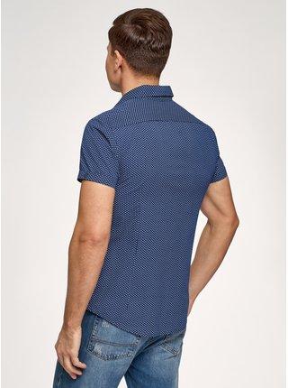 Košile bavlněná s krátkými rukávy a kapsičkou na prsou OODJI
