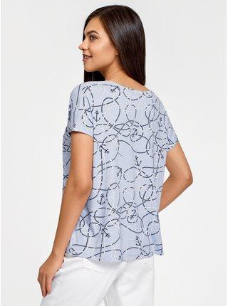 Tričko volného střihu s kapsou na prsou OODJI