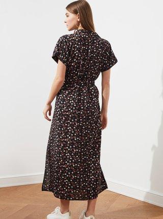 Černé květované maxišaty se zavazováním Trendyol