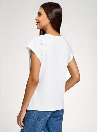 Tričko s výšivkou a umělými perličkami OODJI