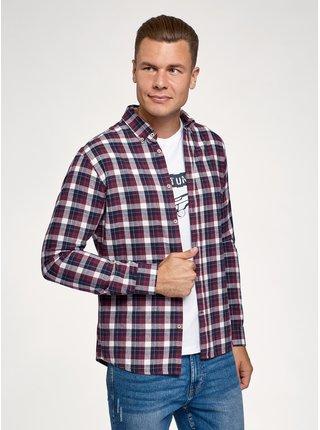 Košeľa bavlnená s dlhým rukávom OODJI