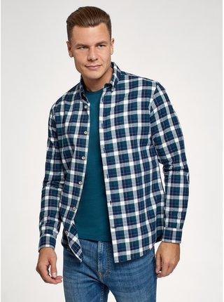 Košile bavlněná s dlouhým rukávem OODJI