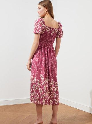 Růžové květované midišaty se zavazováním Trendyol