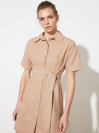 Béžové košilové šaty se zavazováním Trendyol