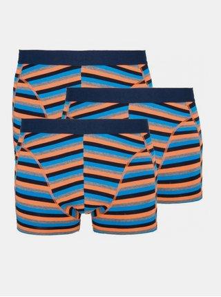 3PACK pánské boxerky Stillo modro oranžové proužky