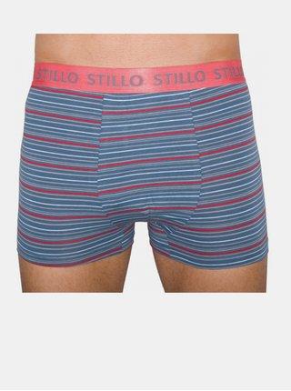 3PACK pánské boxerky Stillo šedé s červenými proužky