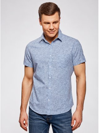 Košile s krátkým rukávem se vzorem OODJI