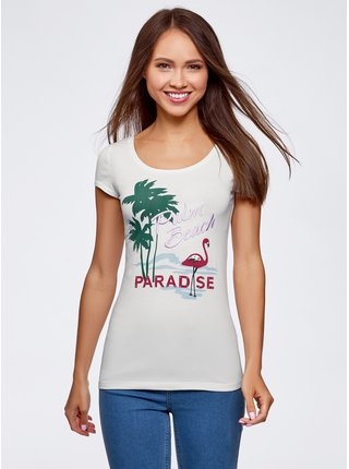 Tričko s kapkovým výstřihem na zádech OODJI