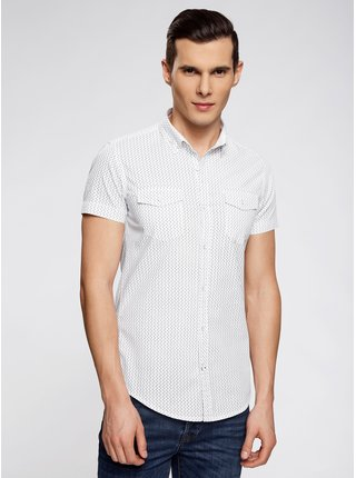 Košile s potiskem s krátkým rukávem vypasovaná OODJI