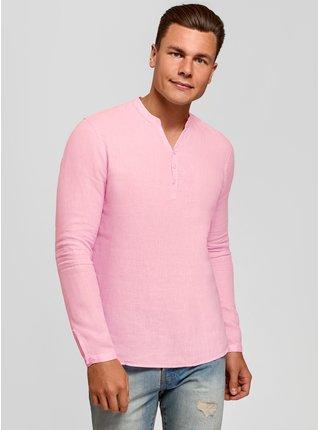 Košile lněná bez límečku OODJI