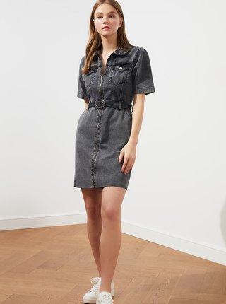Šedé džínové šaty s páskem Trendyol