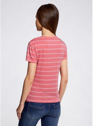 Tričko pruhované s nášivkou OODJI