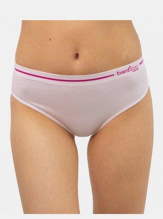 Dámské bambusové kalhotky Gina bílé s růžovým pruhem