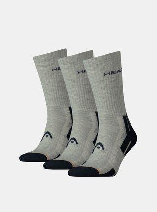 3PACK ponožky HEAD šedé