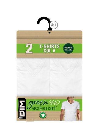 DIM ECOSMART T-SHIRT V NECK 2x - Pánská bavlněná trika 2 ks - bílá