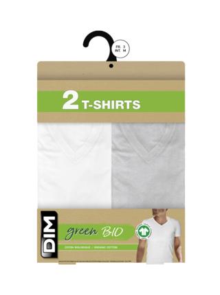DIM ECOSMART T-SHIRT V NECK 2x - Pánská bavlněná trika 2 ks - bílá - šedá