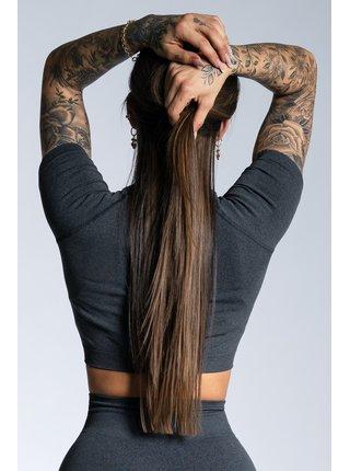 Crop-Top Gym Glamour s krátkým rukávem Dark grey ombre