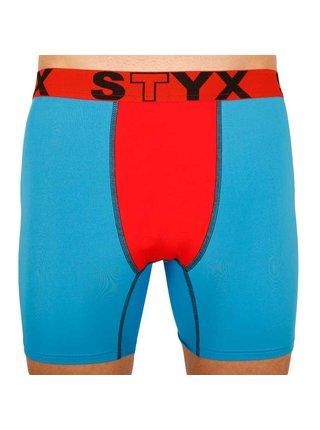 Pánské funkční boxerky Styx modré s červenou gumou