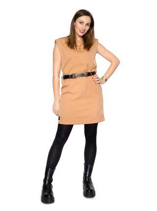 Simpo karamelové šaty Wide s ramenními vycpávkami