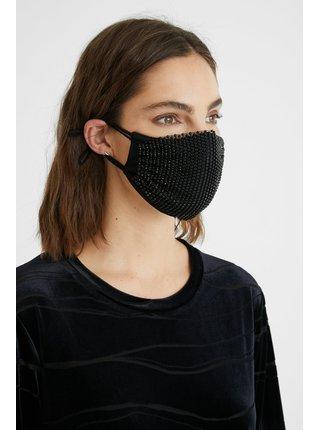 Desigual černá rouška Mask Pack Night s černými kamínky