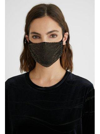 Desigual černá rouška Mask Pack Night se zlatými kamínky