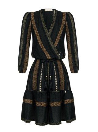 Rinascimento černé letní šaty se vzory