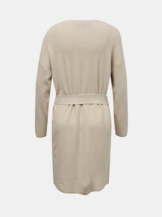 Krémové svetrové šaty se zavazováním Jacqueline de Yong Dancy
