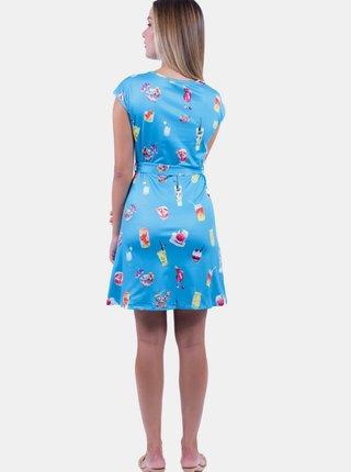 Modré vzorované šaty se zavazováním Culito from Spain