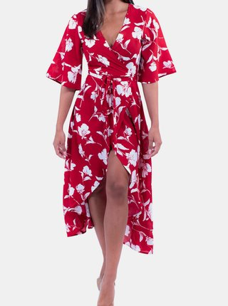 Červené květované zavinovací šaty Culito from Spain